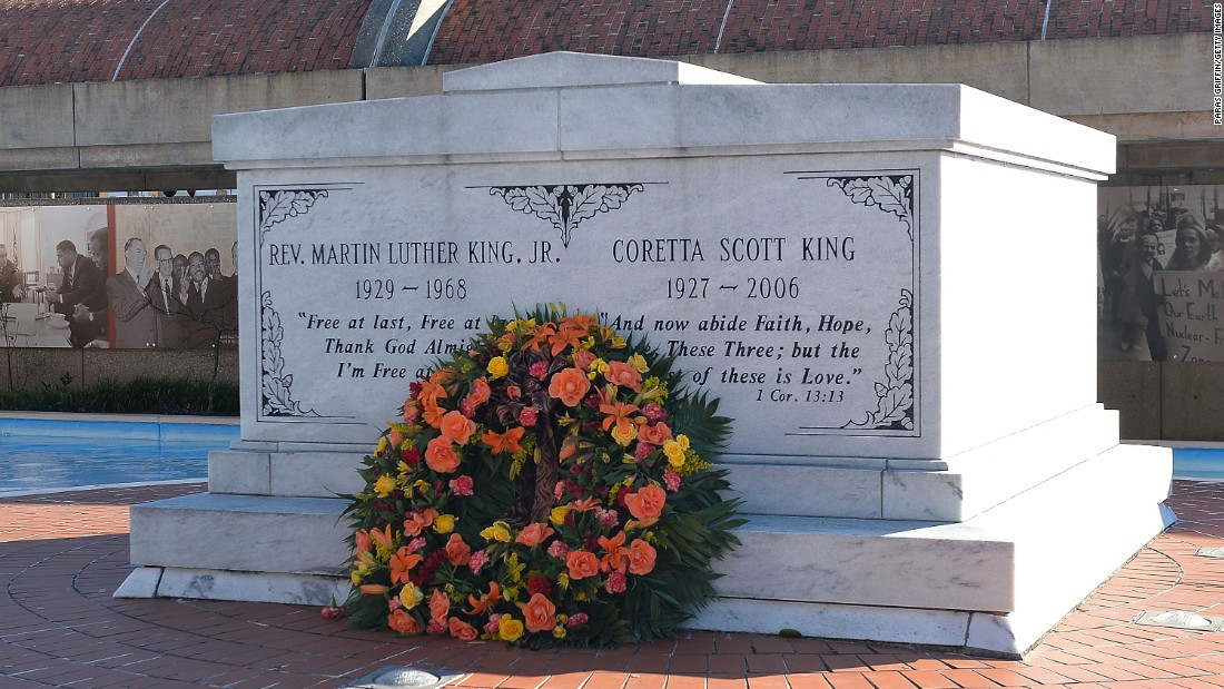 The tomb of Martin Luther King Jr . and his wife, Coretta Scott King, are located at the King Center for Nonviolent Social Change, next door to the Ebenezer Baptist Church. The center is also part of the national historic site.