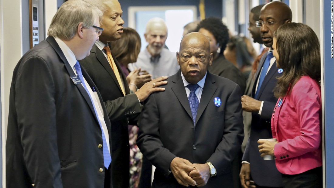 Congressman John Lewis (third from left), who was first elected to the US House of Representatives in 1986, shows no signs of slowing down. Lewis joined Senate Minority Leader Steve Henson (left), US Rep. Hank Johnson and other Democrats to get out the vote in Atlanta before the 2016 presidential election. Visitors and residents can sometimes spot him at protests and celebratory parades around town.