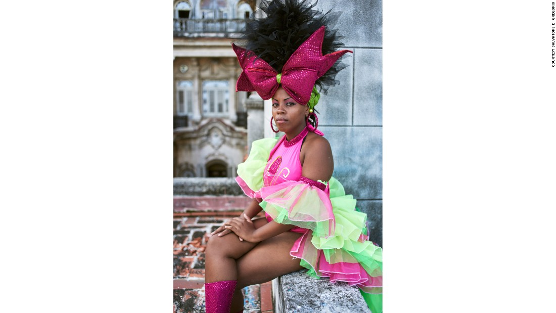 A dancer from Los Componedores de Batea troupe on the balcony of the Casa de la Cultura in Havana after a performance.