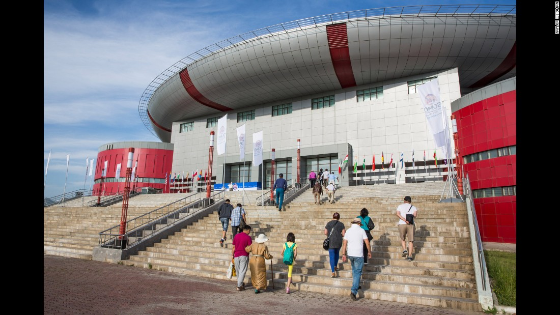 Sumo fans arrive at the World Sumo Championships in Ulaanbaatar.