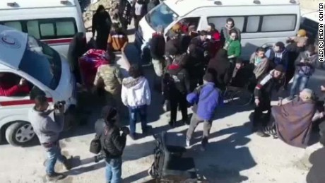 Evacuees from Aleppo seeking help