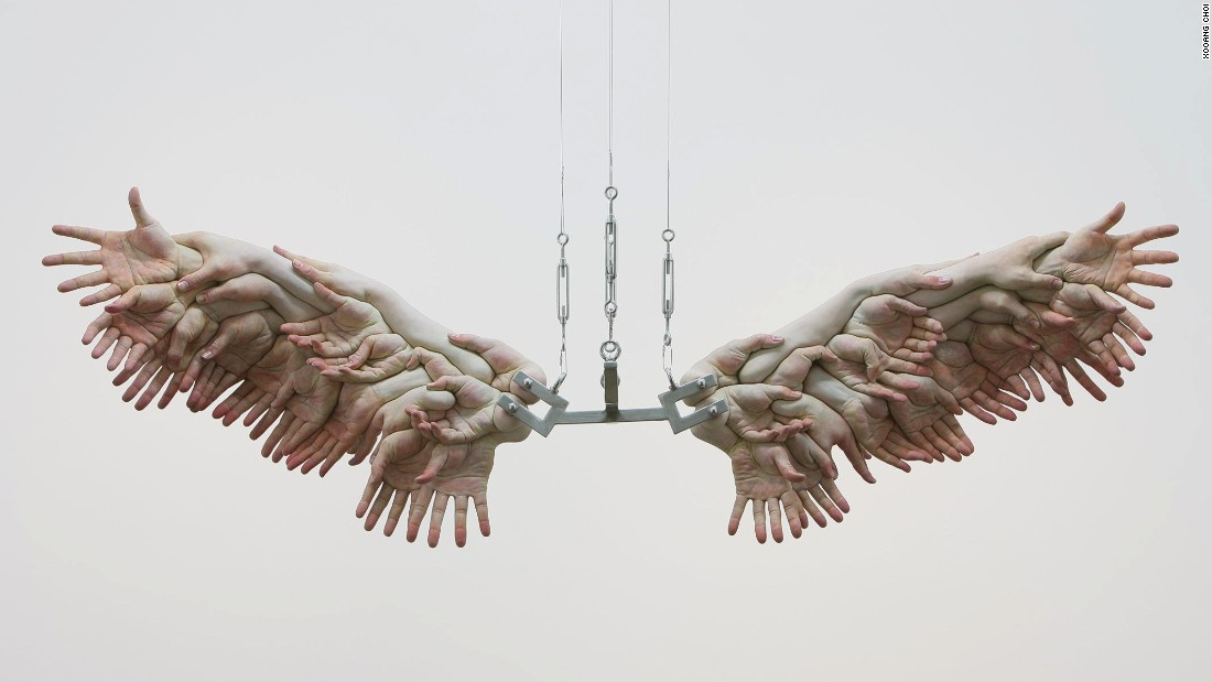 "Choi's most famous work, ""The Wing"", is constructed out of hyperrealistic dismembered hands. ""I was thinking about the sacrifice of individuals for a greater society,"" says Choi. ""People said it looked like it symbolized a victory for people working together."""