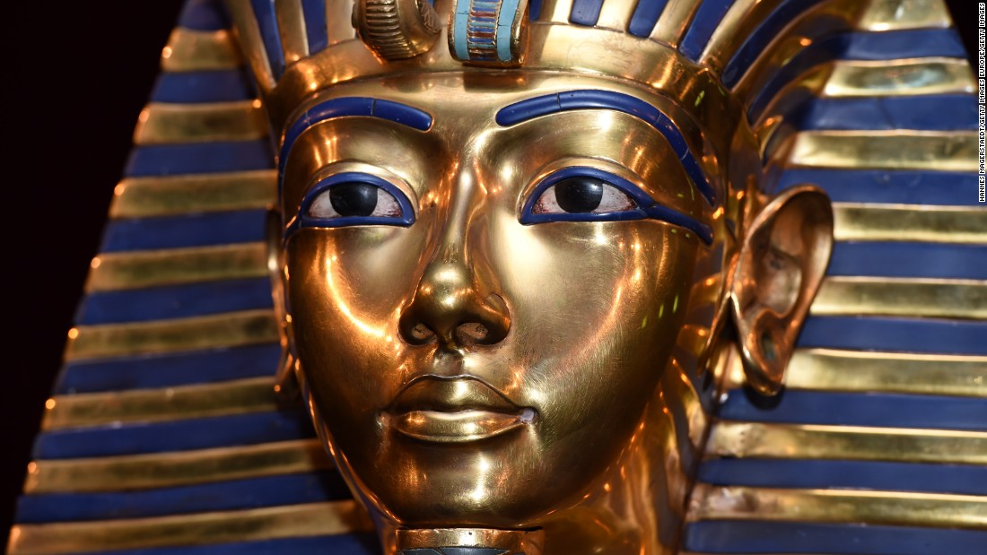 Ancient Egyptians prized the rare and vivid blue Lapis lazuli stone, seen here as Tutankhamun's eye surrounds and eyebrows. They also manufactured blue as a type of glazed ceramic called Faience. Blue for the Ancient Egyptians was associated with the life-giving Nile River and with the heavens and thus the realm of the gods.
