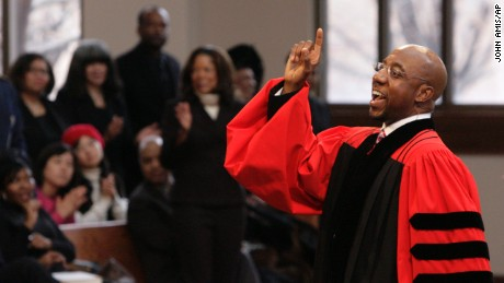 The Rev. Raphael Warnock delivers a sermon during church service at Ebenezer Baptist Church Sunday Jan. 18, 2009, in Atlanta. Warnock is senior pastor at Ebenezer, the church where the late Dr. Martin Luther King once also pastored. (AP Photo/John Amis)