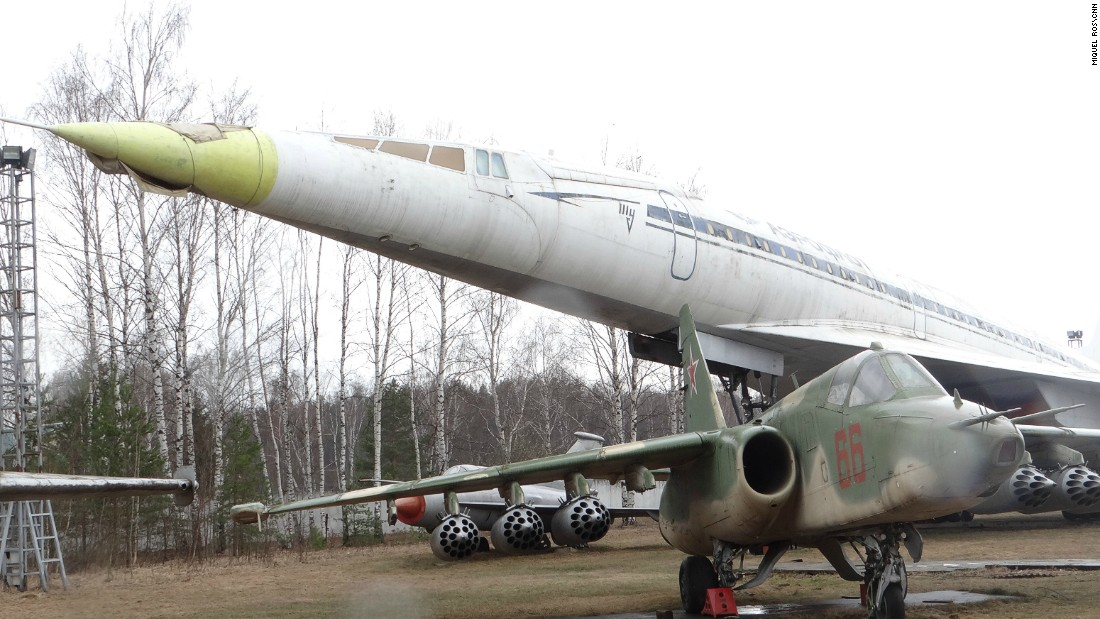 The supersonic Tupolev Tu-144 airliner -- on display in the outdoor section of the museum -- was known as the Soviet Concorde.