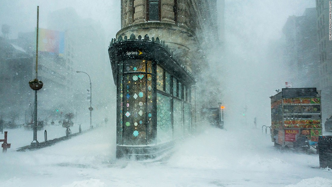 Michele Palazzo braved a blizzard caused by 2016's Winter Storm Jonas to take this image of New York's famous Flatiron Building. It took the top prize in the Cities & Architecture single image category.