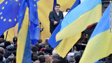 Former Georgian president and former governor of Ukraine's Odessa Mikheil Saakashvili addresses supporters during a rally in Kiev on November 27, 2016. Some 2,000 people gathered in central Kiev to support Saakashvili, known for pro-Western reforms in his native Georgia, in his call to rise up against the Ukrainian government.  / AFP / SERGEI SUPINSKY        (Photo credit should read SERGEI SUPINSKY/AFP/Getty Images)