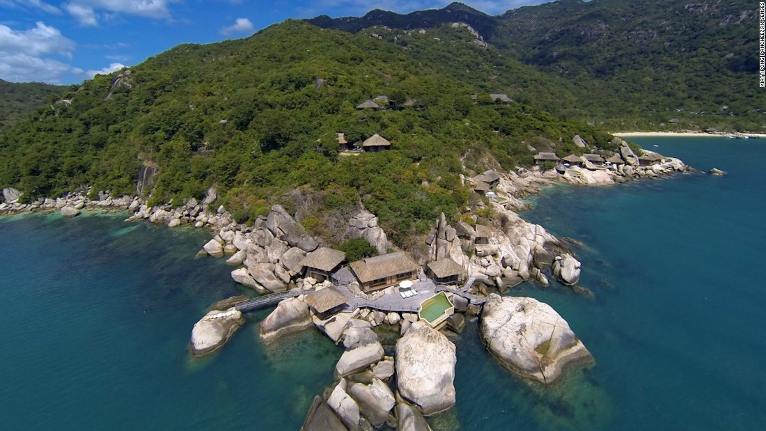 "An aerial view of Six Senses Ninh Van Bay's ""Rock Retreat,"" a private cluster of pavilions overlooking the bay."
