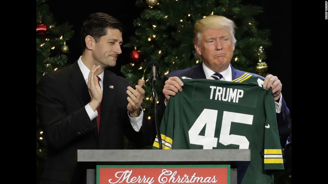 "US President-elect Donald Trump holds up a Green Bay Packers jersey that was given to him by House Speaker Paul Ryan, left, during a rally in West Allis, Wisconsin, on Tuesday, December 13. ""He's like a fine wine,"" Trump said of Ryan <a href=""http://www.cnn.com/2016/12/13/politics/donald-trump-paul-ryan-wisconsin-thank-you-tour/"" target=""_blank"">at the rally,</a> which was part of his ""thank you"" tour to states that helped him win the election. ""Every day that goes by, I get to appreciate his genius more and more."""