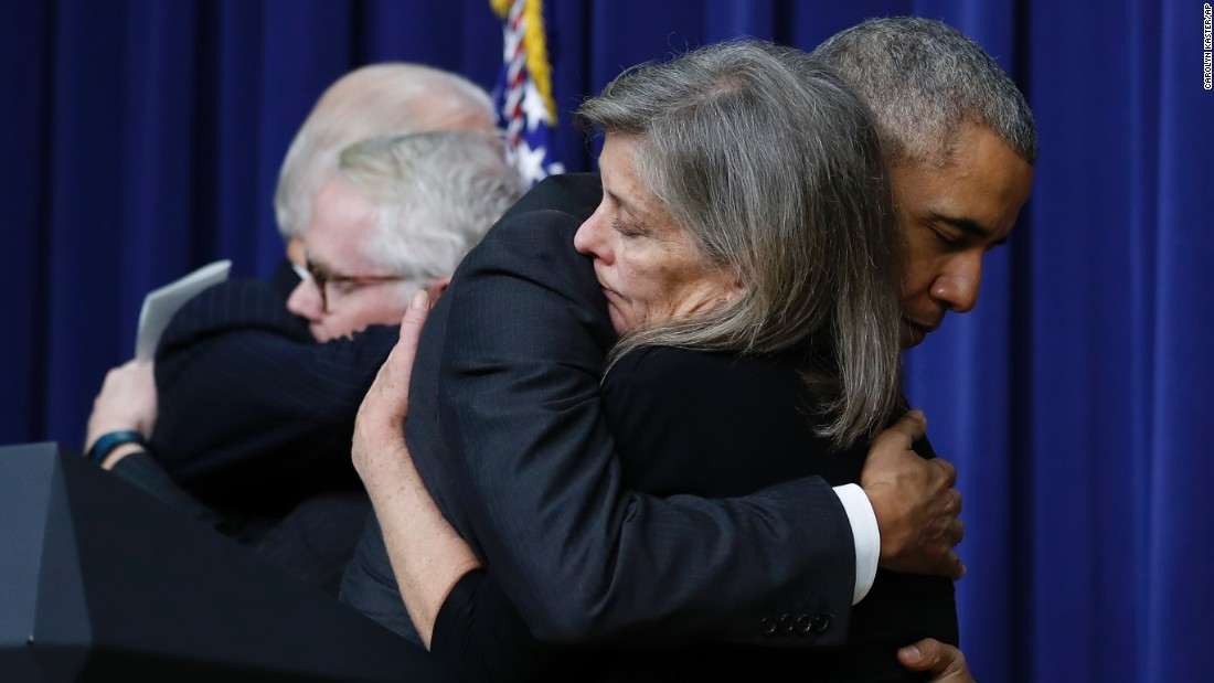 "US President Barack Obama hugs Kate Grubb, whose daughter died of a drug overdose, at the signing ceremony for the 21st Century Cures Act on Tuesday, December 13. <a href=""http://www.cnn.com/2016/12/07/politics/senate-oks-medical-research-bill/index.html"" target=""_blank"">The $6.3 billion bill</a> will boost spending for medical research on cancer and other diseases, and it will also address the country's mental health crisis and opioid epidemic."
