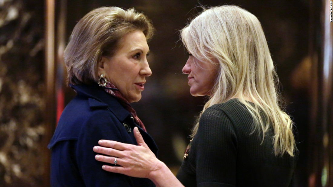 "Former Republican presidential candidate Carly Fiorina, left, talks with Kellyanne Conway, Donald Trump's campaign manager, after <a href=""http://www.cnn.com/2016/12/12/politics/carly-fiorina-china-donald-trump/"" target=""_blank"">meeting with the President-elect</a> in New York on Monday, December 12. The meeting stoked speculation that Fiorina is under consideration for a Cabinet post."
