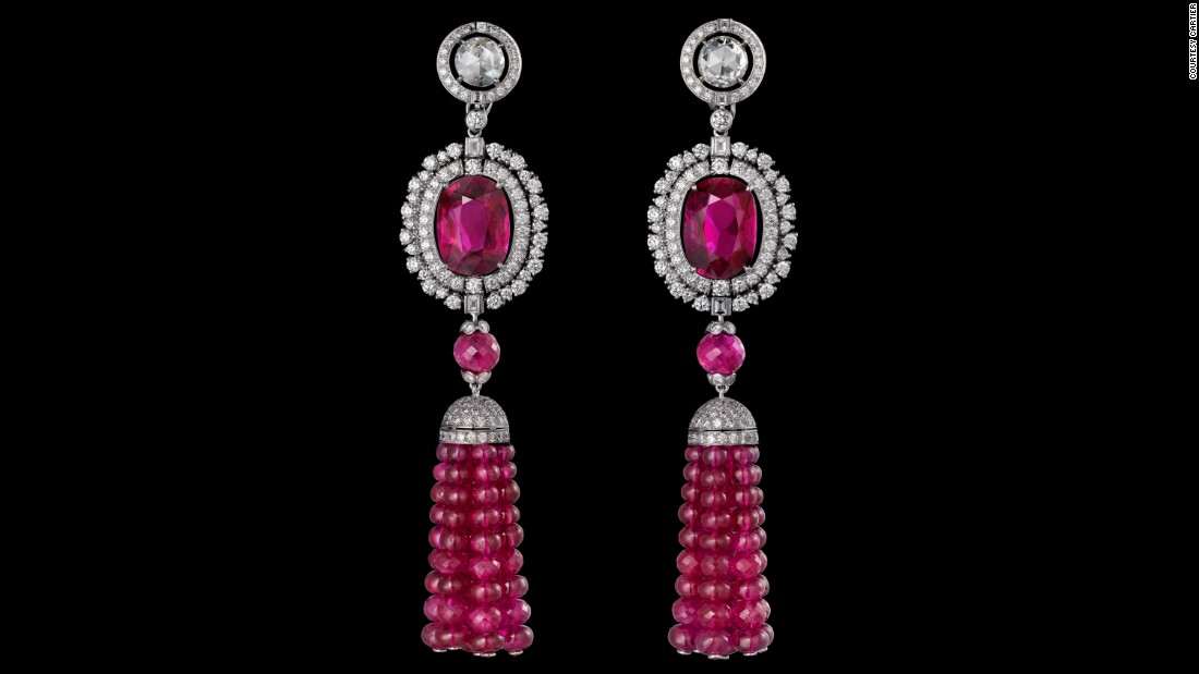 Also part of the Reine Makéda collection is a pair of Mozambican ruby and diamond pendants from Cartier, pictured.