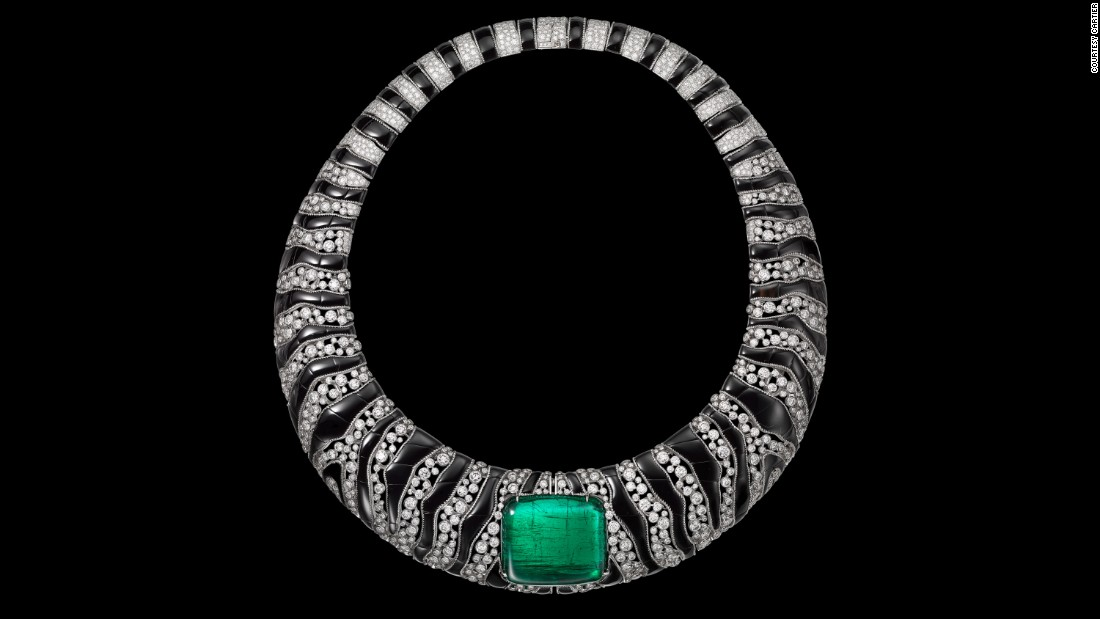 A Cartier necklace with an African emerald as its center point.<br />