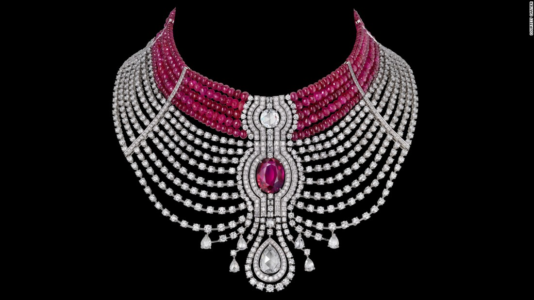 Cartier used a 15-carat oval-shaped Mozambican ruby in a the Reine Makéda necklace, pictured, part of their Royal Collection created for the 2014 Biennale des Antiquaires.
