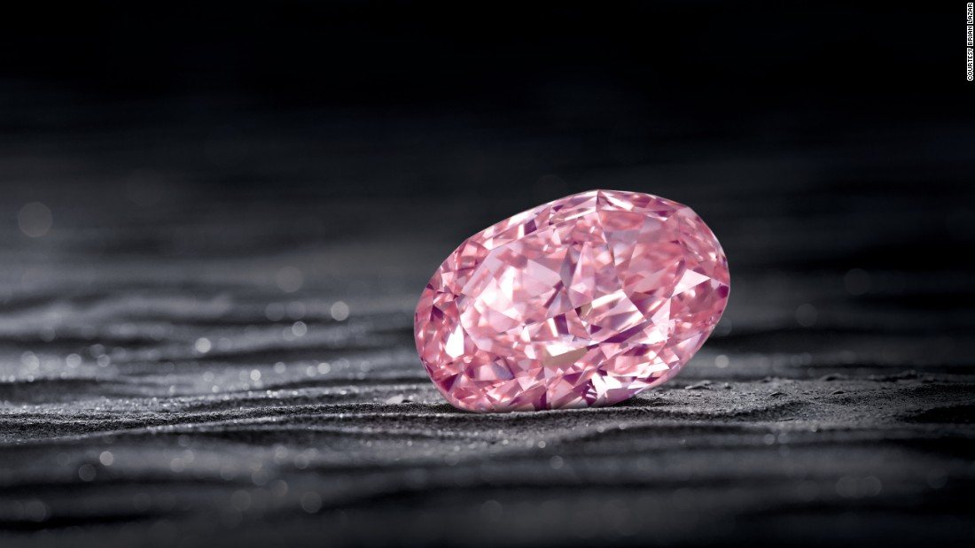 The Juliet Pink from South Africa, also from L.J. West, This rare Fancy Intense Pink weighs whopping 30 carats and is set in a necklace.