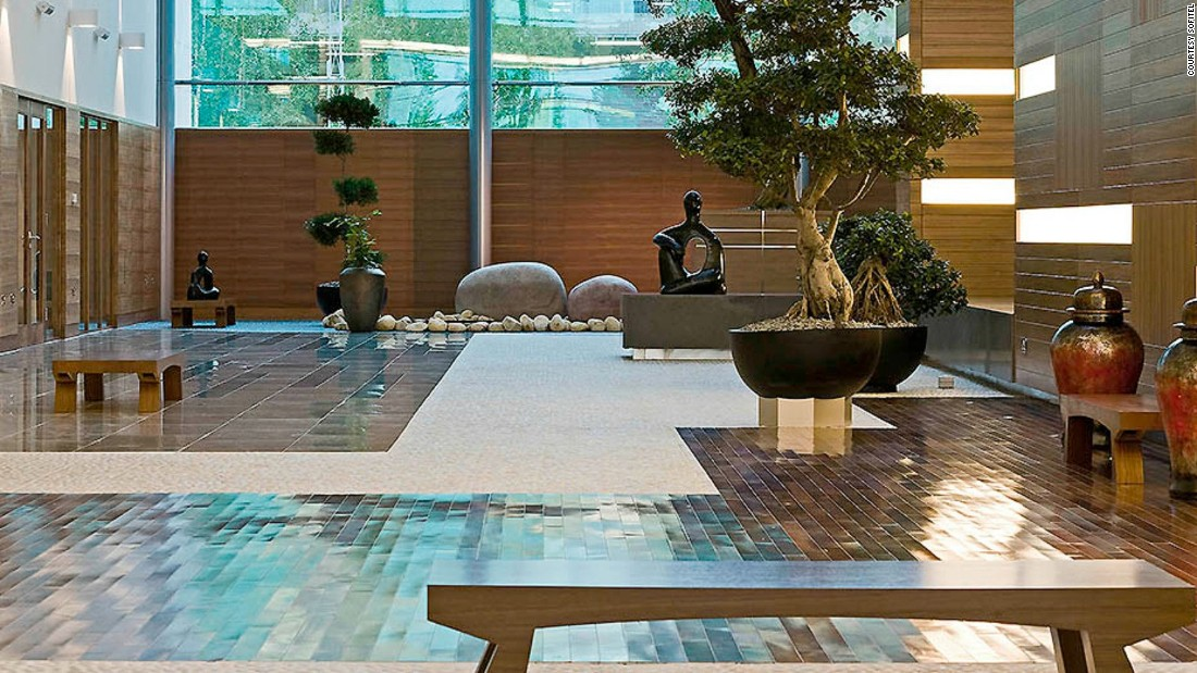 With its vast marble atrium decorated with fountains, zen gardens and abstract sculptures, the Sofitel feels a million miles from the contact sport that can be Heathrow Airport.