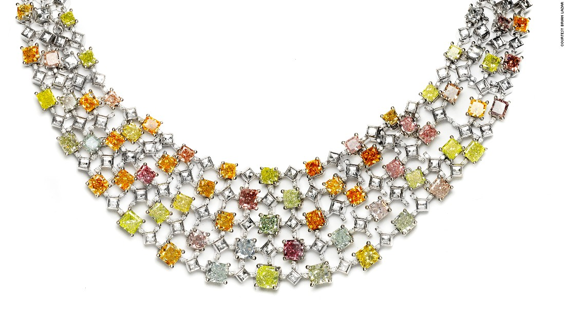 The Rainbow Necklace features differently colored stones, including extremely rare blue-gray diamonds.