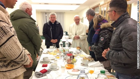 Pope Francis has breakfast with homeless to celebrate 80th birthday