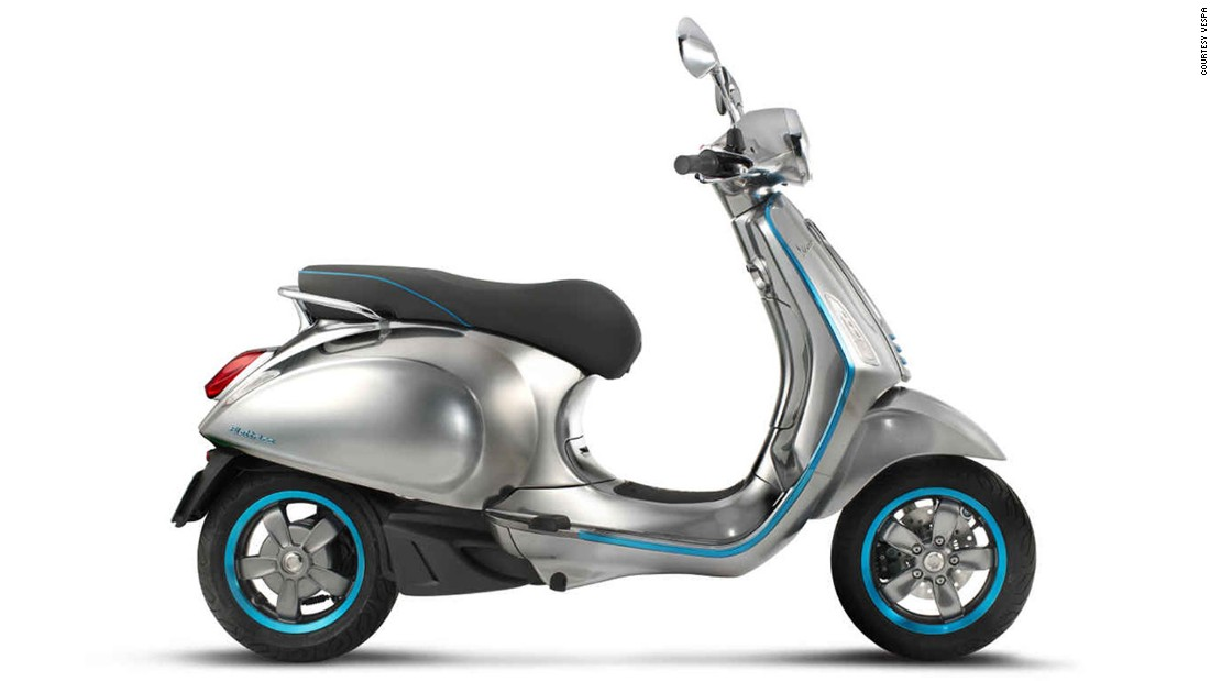 "The <a href=""http://www.vespa.com/en_EN/news/vespa-elettrica.html"" target=""_blank"">electric version</a> of the classic <a href=""http://edition.cnn.com/2016/06/09/autos/vespa-70th-anniversary/"">Vespa</a> makes cruising around eco-friendly and stylish, with a lovely brushed metal body and glowing electric blue accents.<br /><br />It is said to be as maneuverable as its combustion engine-powered sibling, and can be plugged into the wall to charge, helping it pay for itself. Vespa hasn't disclosed prices yet, but we expect it won't be cheap."