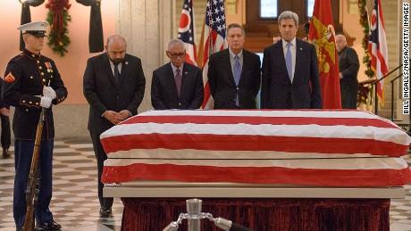 U.S. Senator John Glenn lies in repose, under a United States Marine honor guard, in the Rotunda of the Ohio Statehouse in Columbus, December 16, 2016.  (Photo by Bill Ingalls/NASA via Getty Images)