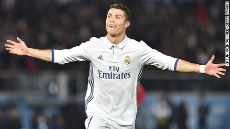 Real Madrid's Cristiano Ronaldo celebrates as his hat-trick helped Real Madrid to a 4-2 win over Kashima Antlers in the Club World Cup final