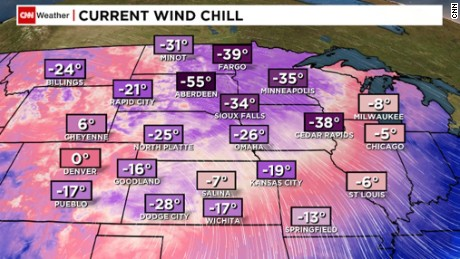 Wind chills Sunday morning
