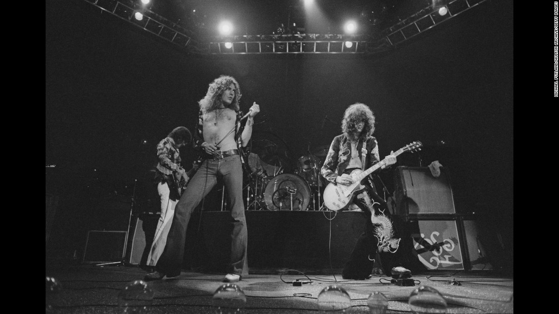 "One of history's first heavy metal rock bands, guitarist Jimmy Page, right, formed Led Zeppelin in England in 1968. Page, along with bassist John Paul Jones, singer Robert Plant and drummer John Bonham -- who died in 1980 -- were inducted into the Rock and Roll Hall of Fame in 1995 and received a Grammy Lifetime Achievement Award ten years later. Some of their most well-known songs include ""Whole Lotta Love,"" ""Black Dog"" and the epic anthem ""Stairway to Heaven."" The band has sold 111.5 million units in the US, according to the Recording Industry Association of America. The band's 1971 untitled album known as ""Led Zeppelin IV"" alone has sold 23 million copies nationwide."