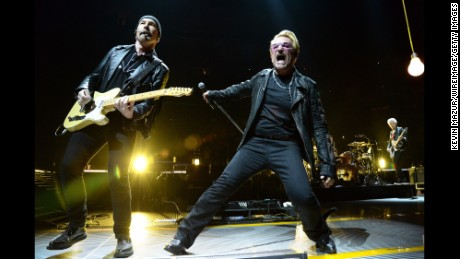 NEW YORK, NY - JULY 18:  The Edge and Bono perform onstage during U2's iNNOCENCE + eXPERIENCE tour at Madison Square Garden on July 18, 2015 in New York City.  (Photo by Kevin Mazur/WireImage)