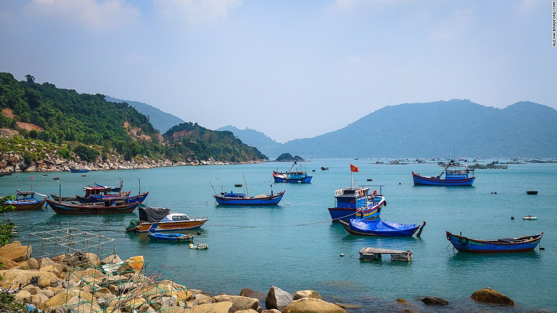 Fishing vessels wait in safe harbor outside of Chi Thanh in southern Vietnam.