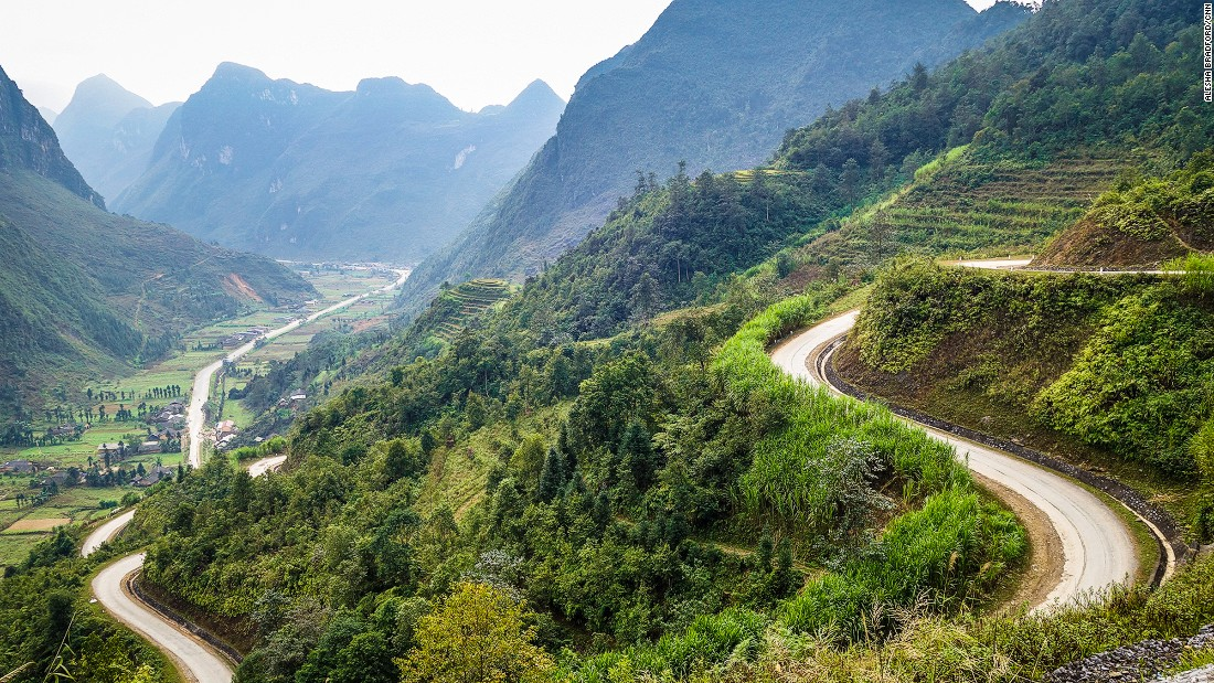 The twisting pavement between Ha Giang and Dong Van along the Chinese border makes for some spectacular riding.