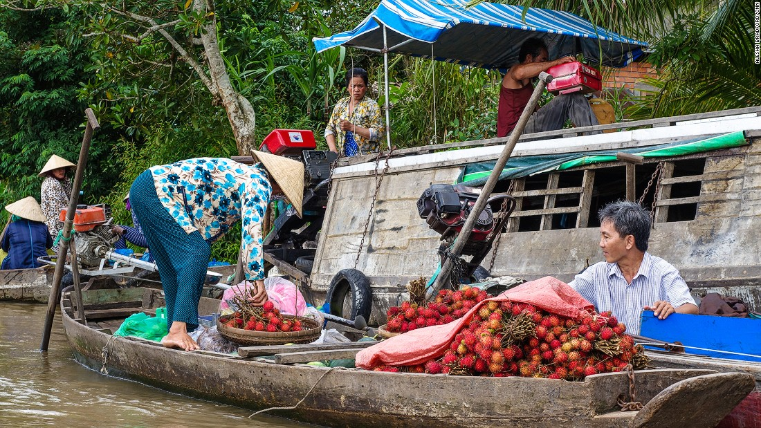 Can Tho, the largest city in the Mekong Delta, is famous for its floating markets. Vendors can be found selling fresh produce, meat and fish out of their own boats.