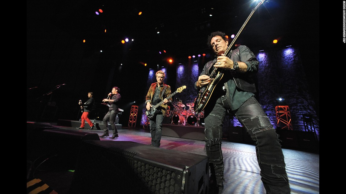 "Formed in San Francisco in 1973, Journey combined rich vocal harmonies with guitar licks and pop melodies. Former lead singer Steve Perry helped the band create a string of huge hits in the late '70s and '80s. ""Don't Stop Believing"" has become an enduring classic. Current band members, right to left, include original guitarist Neal Schon, original bassist Ross Valory, lead singer Arnel Pineda and keyboardist Jonathan Cain. The Rock and Roll Hall of Fame will induct Journey in 2017. The band has sold 48 million units in the US, according to the Recording Industry Association of America."