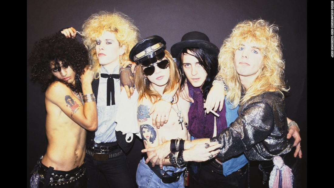 "This band got a lot of attention right from the start. Guns n' Roses' 1987 debut record, ""Appetite for Destruction,"" hit No. 1 on Billboard's album chart. It included three instant '80s classics: ""Welcome to the Jungle,"" ""Sweet Child o' Mine"" and ""Paradise City."" Posing in this 1985 promo photo are -- left to right -- guitarist Slash, bassist Duff McKagan, singer Axl Rose, guitarist Izzy Stradlin and drummer Steven Adler. Guns n' Roses have sold 44.5 million units in the US, according to the Recording Industry Association of America."