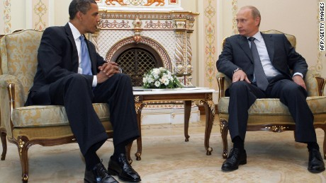 US President Barack Obama, left, speaks with then-Russian Prime Minister Vladimir Putin in Novo-Ogarevo on July 7, 2009 -- when the two leaders met for the first time.