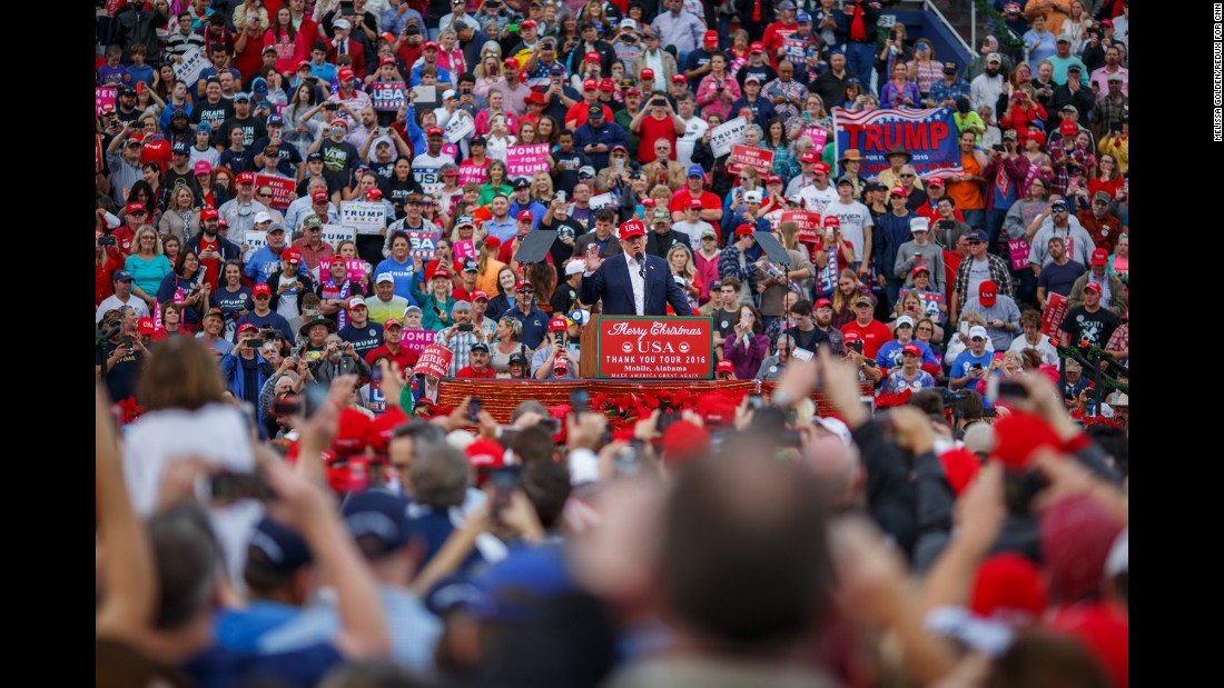 """This is where it all began,"" Trump told the crowd on Saturday. Mobile marked a turning point in his campaign. In August 2015, some 30,000 people packed the stadium for a Trump rally. It was an early sign that he had broad strength in different parts of the country."