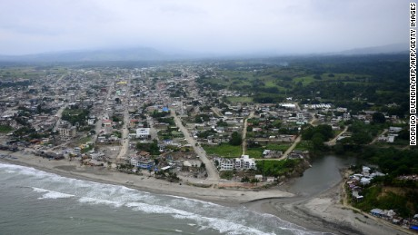 Aerial view of Pedernales, Ecuador on May 16, 2016, a month after a 7.8 magnitude earthquake rocked the city. A total of 660 people are known to have died in the strong earthquake that hit Ecuador on April 16, 2016. / AFP / RODRIGO BUENDIA        (Photo credit should read RODRIGO BUENDIA/AFP/Getty Images)