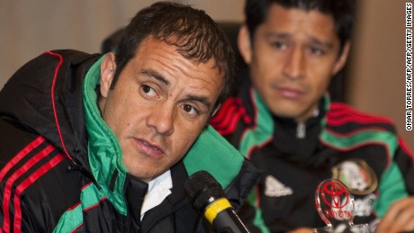 Mexico's footballers Cuahtemoc Blanco (L) and Ricardo Osorio listen to questions during a press conference at the Thaba Ya Batswana hotel in Johannesburg on June 19, 2010. Mexico will face Uruguay in their next match of the 2010 World Cup on June 22. AFP PHOTO/OMAR TORRES (Photo credit should read OMAR TORRES/AFP/Getty Images)