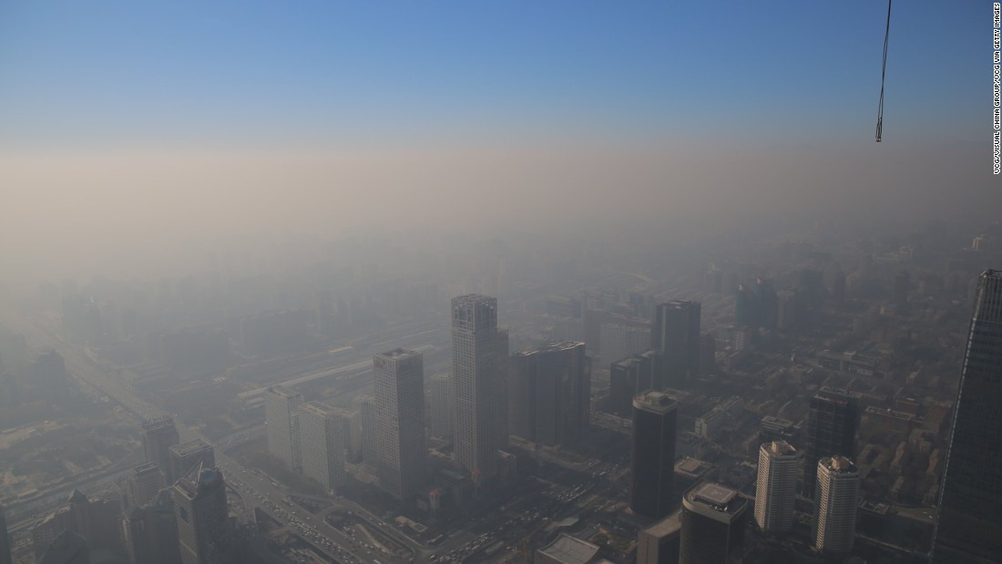 The World Health Organization estimates that annual pollution levels in the capital, Beijing (pictured) are more than eight times the safe level.