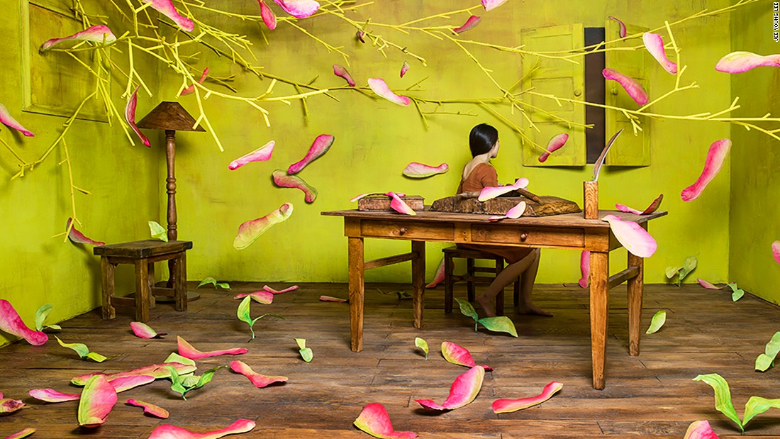 The flower petals in her work LoveSeek are made of colored Hanji, a traditional handmade paper from Korea.