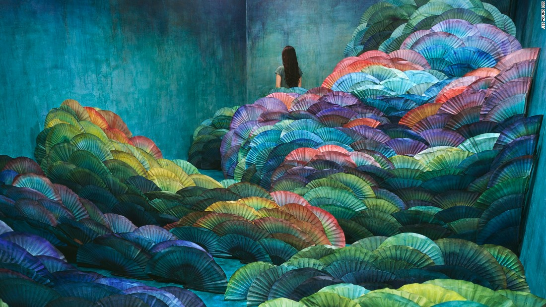 """In """"Nightscape"""" Lee used a traditional handmade paper to depict traditional Korean landscapes."""