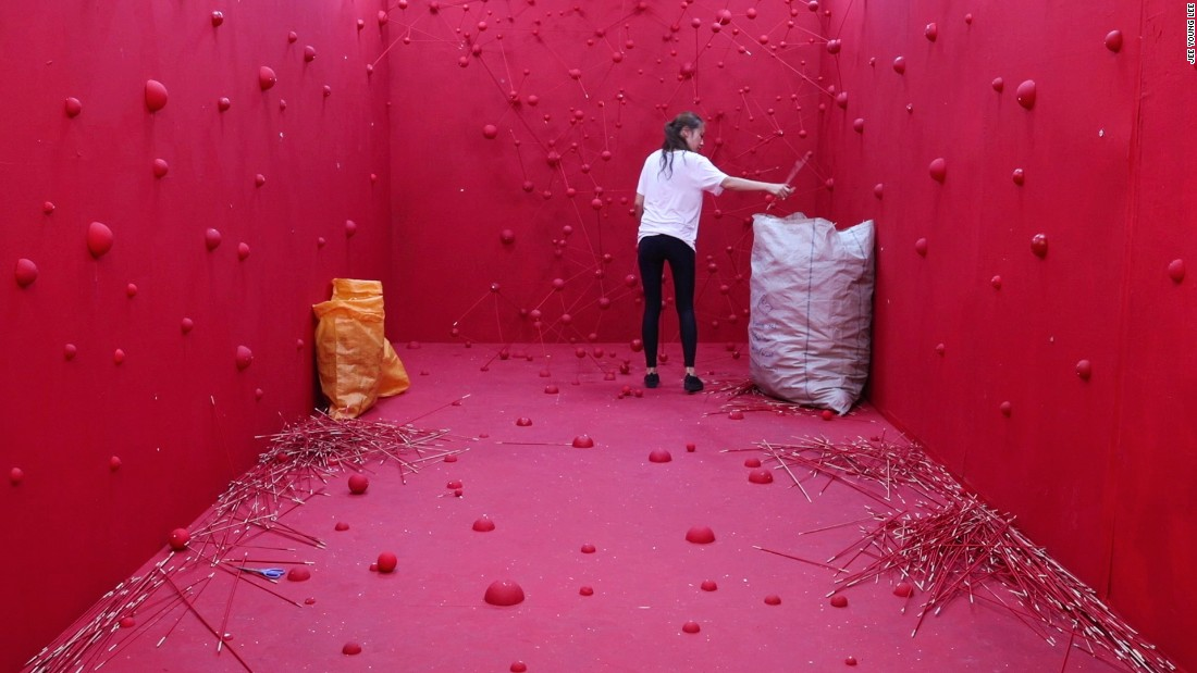 """Lee also showcased a video of her destructing the """"Desire"""" installation. She aimed for a pun, since it literally is a destruction of desire, as the title suggests. """"The video represents a situation where we have to destroy unnecessary desires in life."""""""