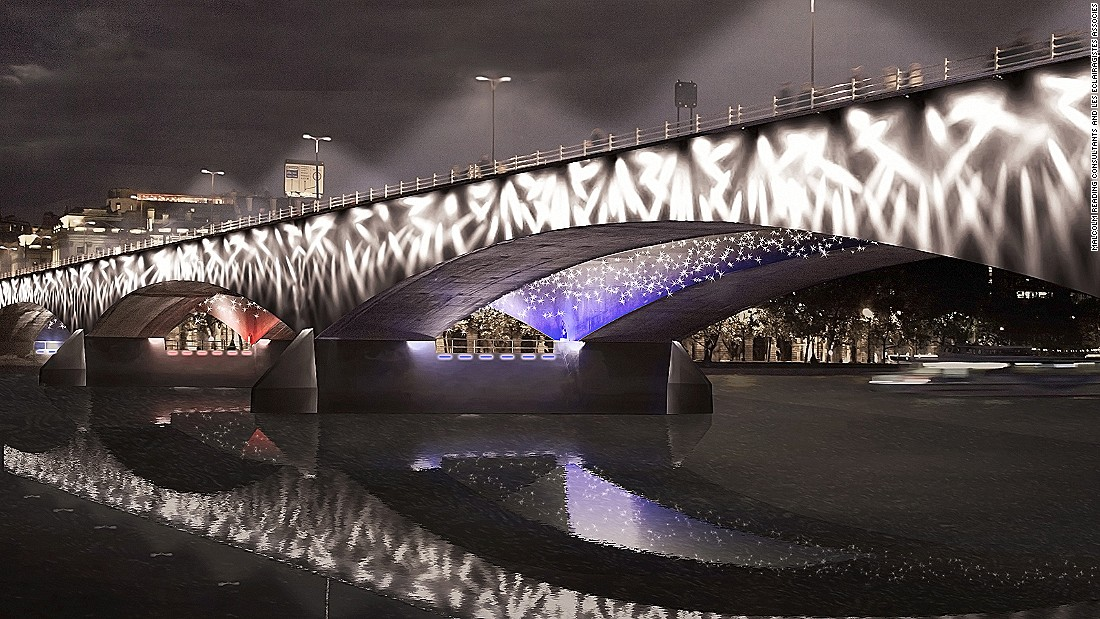 Les Éclairagistes Associés design firm proposed a concept that would light up  bridges with symbolic lamp posts -- each from a different country to represent the city's culture exchange.
