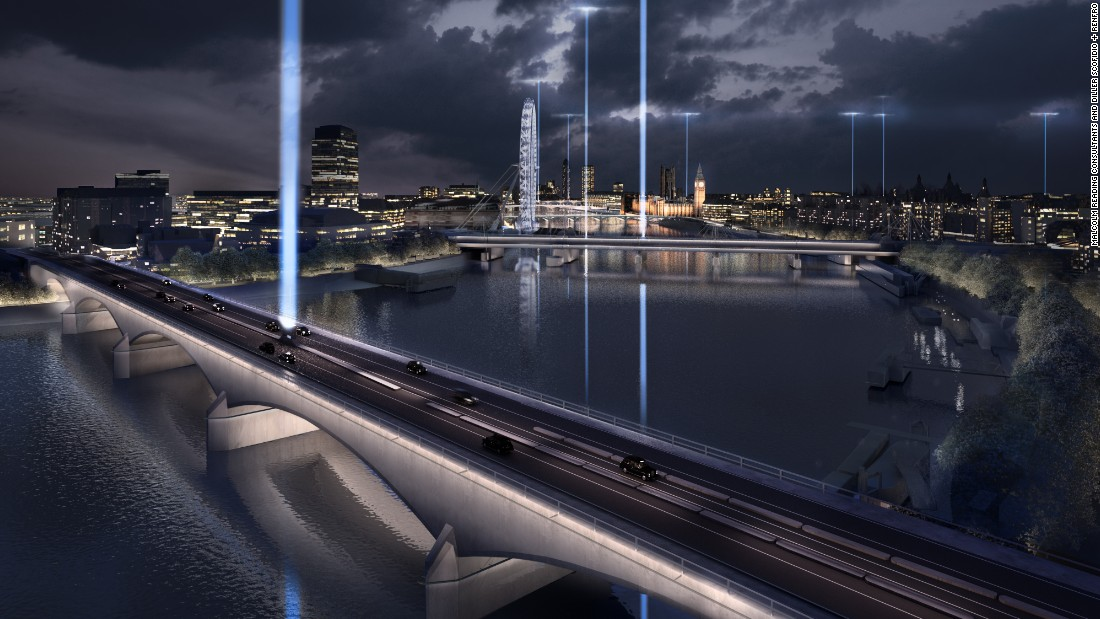 "The design's ""Night Kiss"" shoots into the sky from each bridge to mimic the flow of the river in the sky."
