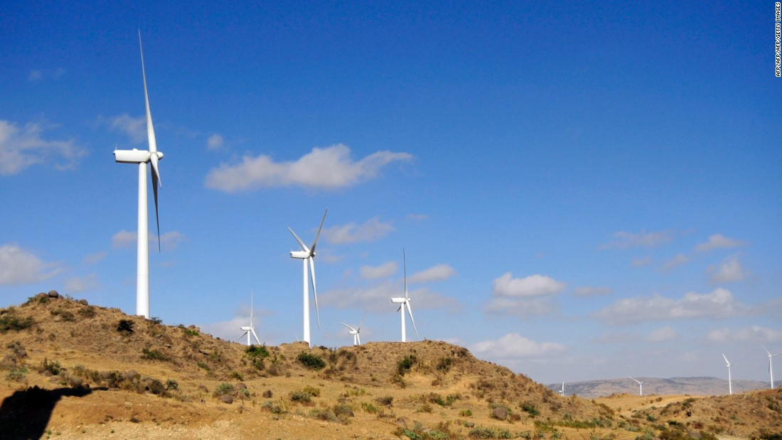 The turbine of Ashegoda wind farm in Northern Ethiopia, which was the largest wind farm in sub-Saharan Africa when it was inaugurated in 2013. The $300 million facility represents a major step forward in Ethiopia's plans to become a renewable energy powerhouse.
