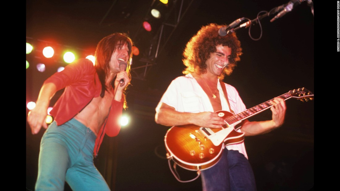Steve Perry and Neal Schon of Journey perform on stage in New York in 1980. The rock band will be inducted into the 2017 Rock and Roll Hall of Fame.