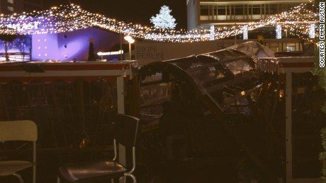 Images of the aftermath of a truck crashing into a market in Berlin