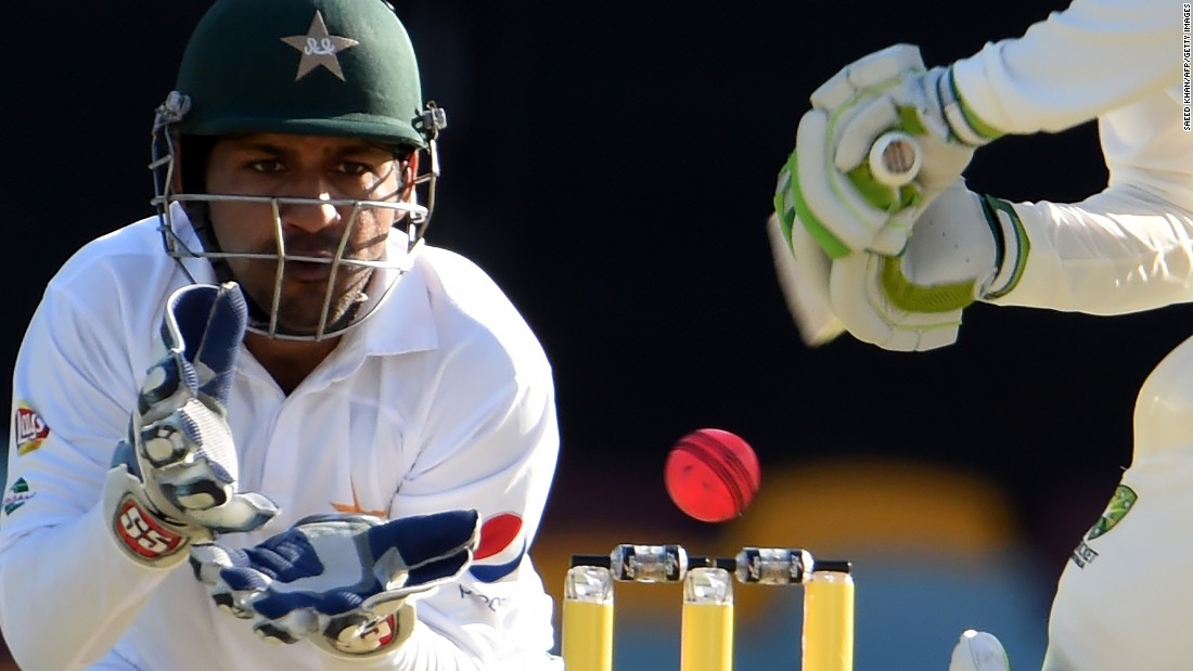 Pakistan wicketkeeper Sarfraz Ahmed eyes the ball during a Test match in Australia on Saturday, December 17.