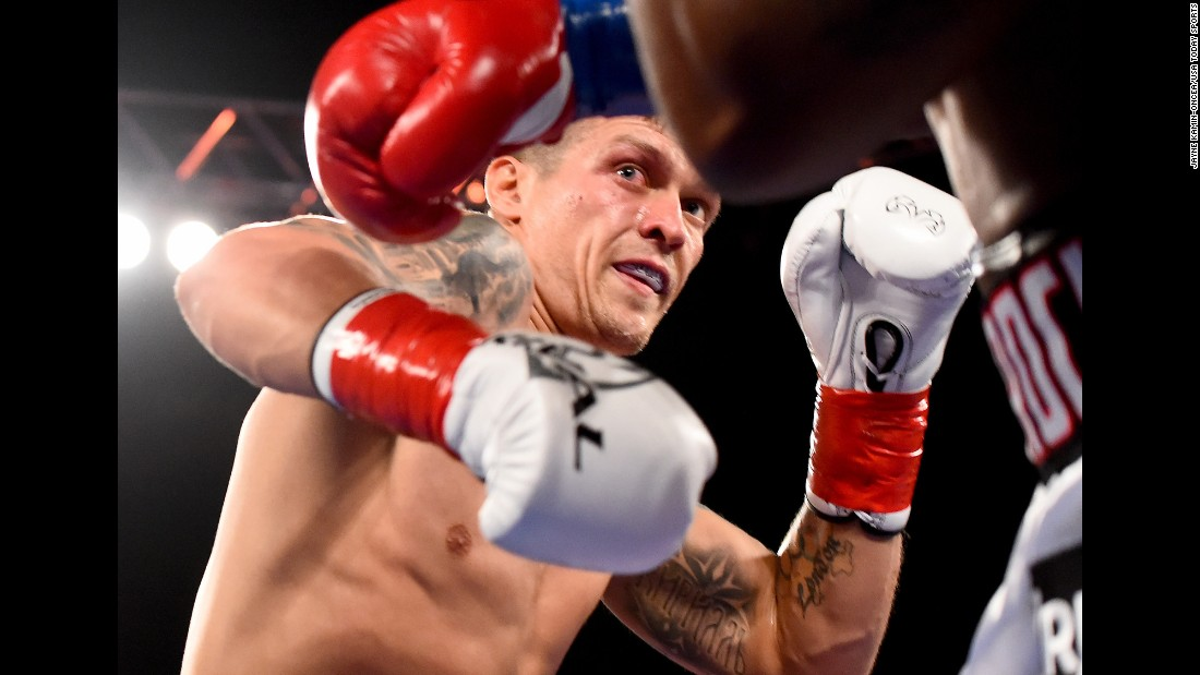 Okelsandr Usyk boxes Thabiso Mchunu during a cruiserweight title fight in Los Angeles on Saturday, December 17. Usyk defended his WBO belt with a ninth-round stoppage.