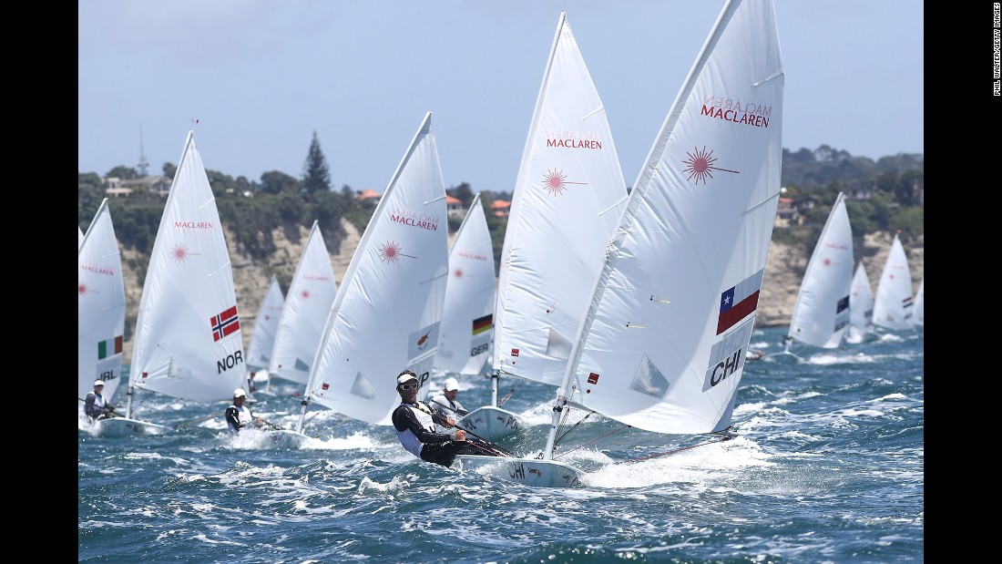 Chile's Seguel Clemente, front, competes in the Youth Sailing World Championships on Friday, December 16. The event is taking place in Auckland, New Zealand, through December 20.