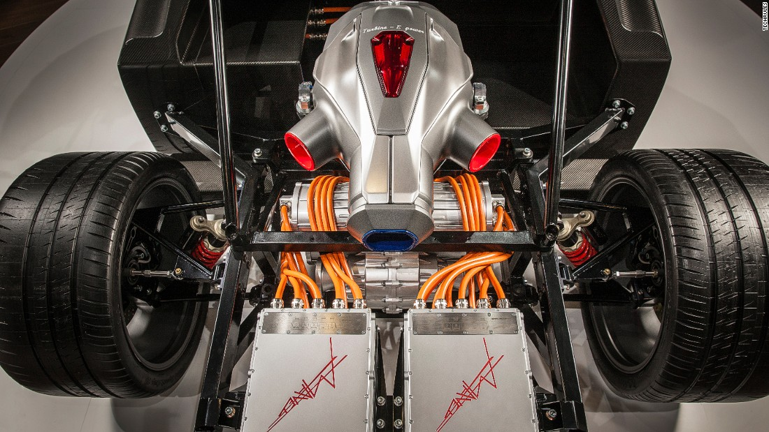 "The sleek chassis is complemented by a patent-protected <a href=""http://www.techrules-news.com"" target=""_blank"">""TREV system"" </a>-- a hybrid powertrain technology with a built-in turbine generator -- which will create electricity in addition to the power stored in the batteries, the company says."